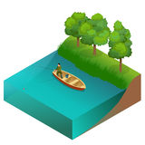 Fishing concept. Man fishing on a lake from the boat. Fisherman with rod. Flat 3d vector isometric illustration. Stock Photos