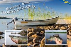Fishing concept of Swedish nature Stock Image