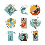 Fishing concept vector poster on white. Royalty Free Stock Photography