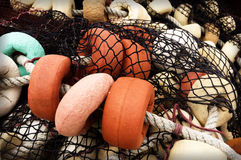 Fishing corks and net royalty free stock photography