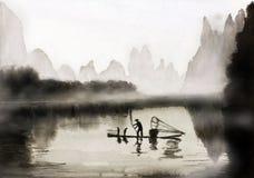 Fishing with cormorants Stock Image