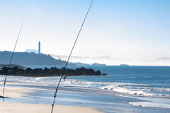 Fishing on the Cote Basque in Biarritz Stock Photo