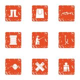 Fishing in the country icons set, grunge style. Fishing in the country icons set. Grunge set of 9 fishing in the country vector icons for web isolated on white Stock Photo