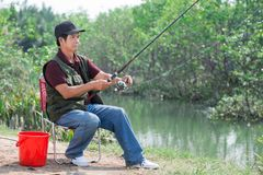 Fishing in the countryside Royalty Free Stock Images