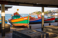 Fishing craft at Arniston in the Western Cape, South Africa. Fishing craft at the Arniston resort in the Western Cape, South Africa. These colourful boats launch Royalty Free Stock Photography