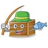 Fishing crate mascot cartoon style. Vector illustration Stock Image