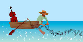 Fishing. Creative conceptual vector. Man fishing in a boat Stock Image