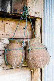 Fishing creel, basketwork made from bamboo. Handmade in Thailand Stock Photos