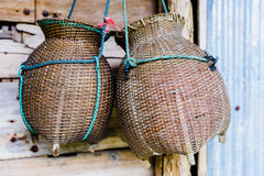 Fishing creel, basketwork made from bamboo. Handmade in Thailand Royalty Free Stock Image