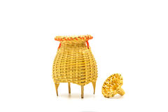 Fishing creel, basketwork made from bamboo isolated on white. Backgound, in Thailand Royalty Free Stock Photos