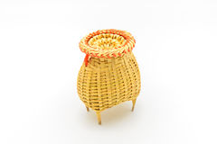 Fishing creel, basketwork made from bamboo isolated on white Stock Photos