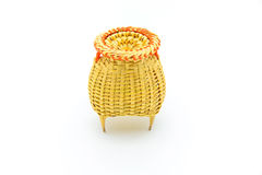 Fishing creel, basketwork made from bamboo isolated on white Royalty Free Stock Photos