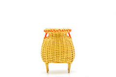 Fishing creel, basketwork made from bamboo isolated on white Royalty Free Stock Images