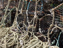 Fishing creels at Craster Harbour Northumberland stock photography