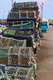 Fishing creels stack quayside Royalty Free Stock Photography