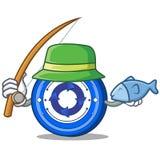 Fishing Cryptonex coin mascot cartoon. Vector illustration Royalty Free Stock Photography