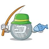 Fishing Dash coin character cartoon. Vector illustration Royalty Free Stock Image
