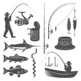 Fishing Decorative Graphic Icons Set. With man in hat catch tackle bait boat tin vector illustration vector illustration