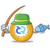 Fishing Decred coin mascot cartoon. Vector illustration Stock Photo