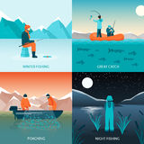 Fishing 2x2 Design Concept. Flat square icons set with winter fishing great catch poaching and night fishing  vector illustration Stock Photo