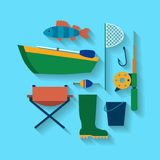 Fishing design concept set style flat. Vector illustration. A set of equipment for fishing from a boat, tackle with diagonal shadows. Vector illustration Stock Photos