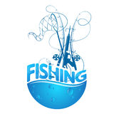 Fishing design silhouette. With fishing rods and water drops Royalty Free Stock Images