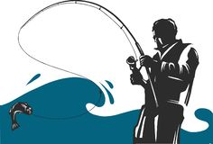 Fishing design for vector. A fisherman catches a boat on a wave. vector illustration