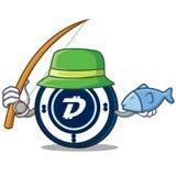Fishing Digibyte coin mascot cartoon. Vector illustration Stock Photography