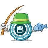 Fishing DigixDAO coin mascot cartoon. Vector illustration Royalty Free Stock Images