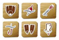 Fishing and Diving icons | Cardboard series royalty free illustration
