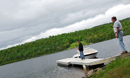 Fishing from Dock royalty free stock images