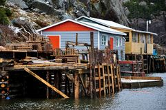 Fishing dock and buildings Stock Photos