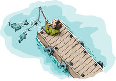 Fishing on a Dock. Cartoon illustration of a single man sitting and fishing on a long, wood dock showing fish attracted by the worm on the fishhook Royalty Free Stock Photos