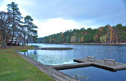 Fishing dock on a crisp Fall Day Royalty Free Stock Photo