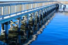 Fishing dock reflection Stock Images