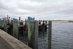 Fishing Dock. With wood pilings, boats and birds Royalty Free Stock Image