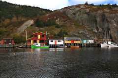 Fishing: Docks, Cabins, Boats on Quidi Vidi Lake Harbor, Newfoundland. Stock Photo