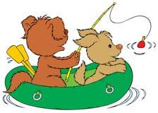 Fishing Dogs Stock Photo
