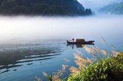 Fishing on the Dongjiang Lake Stock Images