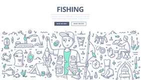 Fishing Doodle Concept vector illustration