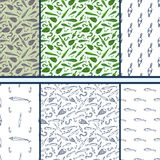 Fishing doodle - set of vector seamless patterns Stock Photo