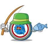 Fishing Dragonchain coin mascot cartoon. Vector illustration Royalty Free Stock Image