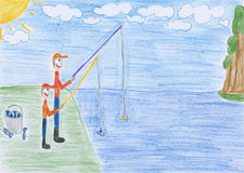 Fishing - drawing Royalty Free Stock Photo
