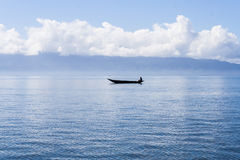 Fishing dugout canoe Royalty Free Stock Photos