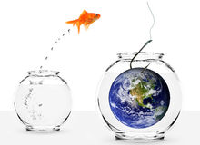 Fishing with earth as bait isolated Royalty Free Stock Photo