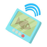 Fishing echo sounder icon, cartoon style. Fishing echo sounder icon in cartoon style isolated on white background vector illustration Stock Image