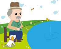 Fishing for the elderly royalty free stock image