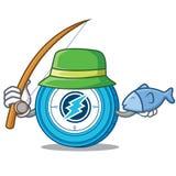 Fishing Electroneum coin mascot cartoon. Vector illustration Stock Photography