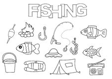 Fishing elements hand drawn set. Coloring book template.  Outline doodle. Elements vector illustration. Kids game page Stock Photos