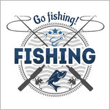 Fishing Emblem, Badge And Design Elements Stock Images